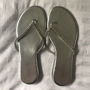 Silver and rhinestone Guess sandals